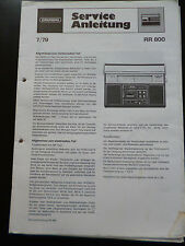 ORIGINALI service manual Grundig RR 800