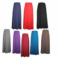 WOMENS LADIES STRETCH LONG MAXI SKIRT MODEST BLACK FULL LENGTH  SIZES 8-26