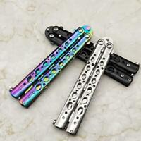 Stainless Colorful Butterfly Knife Steel Training Balisong Trainer Tool Blunt US