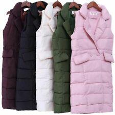 Ladies Padded Winter Clothing Coat Vest Long Down Sleeveless Cotton Pocket Decor