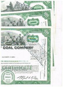 Set 6 Peabody Coal Co., 1960er, 2 verschiedene V., VF minus, s. Stempelung!
