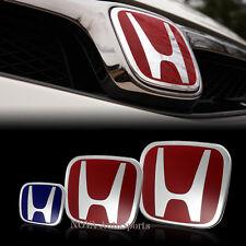 3pcs Front+Rear+Steering Wheel Blue H Emblem for 06-15 HONDA CIVIC Sedan SI DX