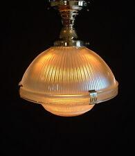 "12"" HOLOPHANE 2130 Light Industrial Glass Shade FLUSH MOUNT Vintage Ceiling 2135"