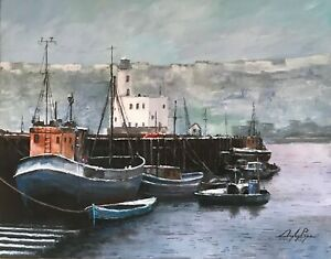 "Digby Page Original 'Scarborough Harbour in the Snow' Acrylic Size: 16"" x 20"""