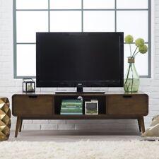 Mid Century Modern TV Stands Flat Screens Media Console Storage Walnut Cabinet