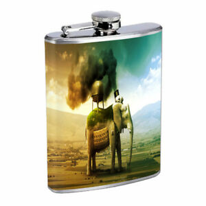 Elephant Machine Pollution Em1 Flask 8oz Stainless Steel Hip Drinking Whiskey
