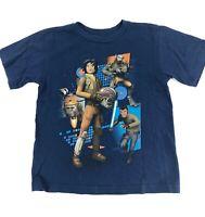 Disney Store Star Wars Rebels Tee Sz 4 Navy Blue Graphic T-Shirt Ezra Chopper
