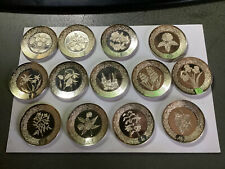 More details for franklin mint 26 a-z of flowers miniature silver plates 1979