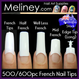 500/600Pc French Nail Tips Nails Square Long Short False Fake Acrylic Gel Bulk