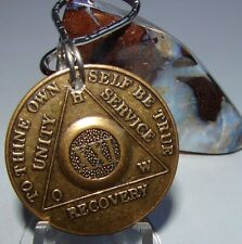 Alcoholics Anonymous AA 21 Year Bronze  Medallion Keychain Token coin chip Sober