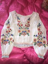 Vintage  ? 1940's Hungarian Hand Embroidered Folk Blouse
