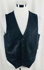 Wilsons Leather Vest Mens Medium Black Button Down V-Neck Sleeveless