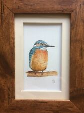 Original Framed Watercolour Painting Birds : Kingfisher By Lisa EVANS