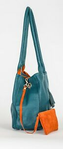LiaTalia Womens Real Leather Reversible Medium Slouch Shoulder Bag with Tassel