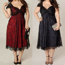 Women V Neck Oversized Wedding Lace Ball Gown Party Short Sleeve Maxi Midi Dress