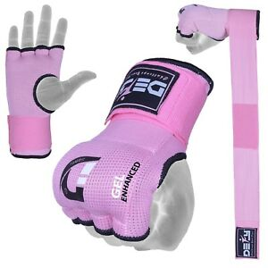 DEFY Gel Padded Ladies Inner Gloves with Hand Wraps MMA Muay Thai Pink S to XL