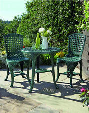 3 PCS GARDEN PATIO BISTRO TABLE & 2 CHAIRS OUTDOOR FURNITURE DINING SET - GREEN