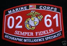 MOS 0261 US MARINES GEORGRPAHIC INTELLIGENCE SPEC HAT PATCH USMC USS FMF WOW