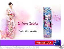 """Japanese Inspired Womens Red LED Watch """"Iron Geisha"""" - boxed"""