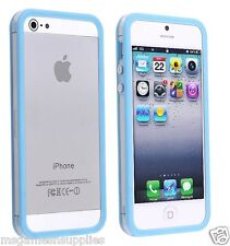 Blue / Transparent Bumper Case - iPhone SE 5S 5G 5  Rigid Hard Plastic NEW