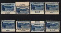 1934 National Parks Sc 745 MH 8 plate number singles Hebert CV $28