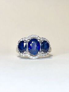 $10,000 3.30ct Natural Sapphire & Diamond White gold ring WITH VALUATION