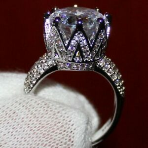 Sterling Silver Large Solitaire Crown Ring