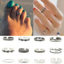 Women Lots Open Toe Ring Finger Foot Simple Celebrity Retro Silver Jewelry Set