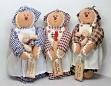 "Handcrafted Set of 3 ""Lovin' From The Oven"" Gingerbread Kitchen Dolls Christmas"