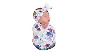 Newborn Infant Baby Swaddle Blanket cap and Headband.3 piece set