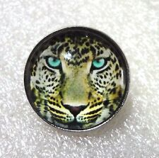 ZPs Glass Leopard Wild Cat Domed Pin Badge Brooch