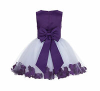 White Rose Petal Flower Girl Dress Pageant Toddler Sizes 12-18 months 2-12 years