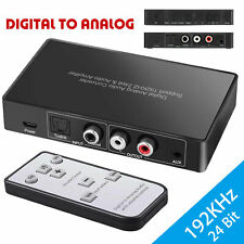 Optical Digital to Analog Audio Converter Adapter Cable RCA L /R IR Remote 24bit