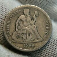 1866S Seated Liberty Dime, 10 Cents, Hard To Find Key Date, Nice Coin (9573)