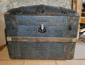 Antique (1880) Dome Top Wheeled Steamer Trunk w/ Blue Alligator Leather Exterior