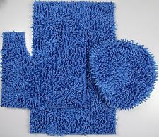 3 Piece Mixed Shiny Chenille Bath Mats Set Made with super soft Microfiber Blue.
