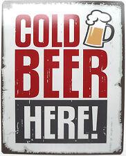 Cold Beer qui segno Metallo Wall Art Vintage Classico Retrò PLACCA
