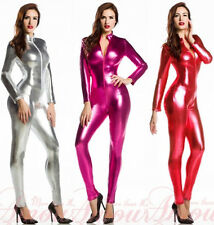 Hot 7Colors Metallic lycra Zentai Discowear Zip Up Wear Catsuit Bodysuit S-XXL