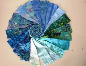 Batik 100% Cotton Fabric Jelly Roll 40 x 112cm x 6.35cm Blue Lagoon