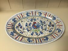 """Le Cadeaux Gallo Blue Rooster Oval 16"""" Platter Serving Tray Melamine"""