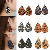 Fashion Halloween Skull Pumpkin Teardrop PU-Leather Ear Dangle Drop Earrings.