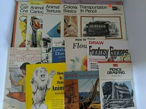 Lot of 12 Vintage Art Instructional Books How to Draw Animals, Cartoons, Flowers
