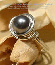LOVELY GREY PEARL 925 SILVER RING - Size Q, 8 All Sizes #R_0218-2