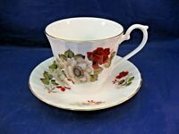 VINTAGE ROYAL SUTHERLAND H & M TEA CUP AND SAUCER - RED ROSE & WHITE FLOWER