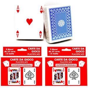 4x mazzi Carte da gioco poker 52 carte plastificate giochi Ramino Burraco scala