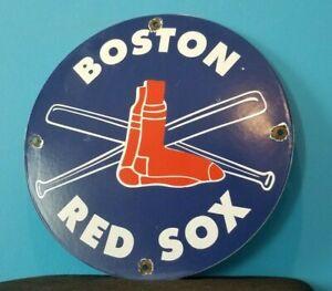 VINTAGE BOSTON RED SOX PORCELAIN MAJOR LEAGUE BASEBALL FIELD STADIUM SIGN
