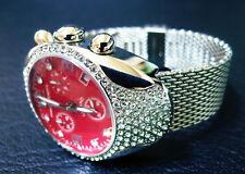 Franchi Menotti 9004 Swiss Chrono. Red Dial 'Swarovski Crystals' & Mesh Bracelet