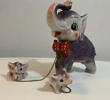Vintage Anthropomorphic Arnart Purple Kitsch Elephant with Babies On Chain
