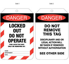 Danger Locked Out Do Not Operate Safety Signs Tags 90x140mm Pkt 100 Cards UDT111