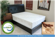 """New 12"""" Grand Gel Memory Foam Mattress Bed Queen Size Made in Usa Organic Cover"""